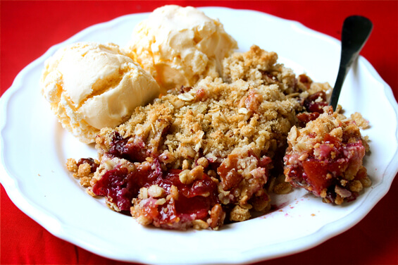 pluot-and-blueberry-crisp