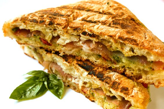 Presto Pesto Panini (with Prosciutto, Provolone & Peppers) {Gimme Some Oven}