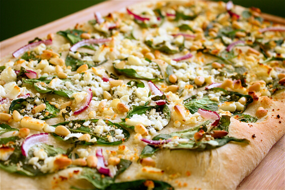 Spinach, Feta & Pine Nut Pizza {Gimme Some Oven}