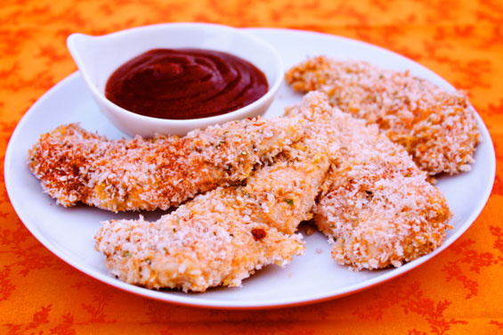 Baked Panko Chicken Tenders With Honey Bbq Dipping Sauce Recipe