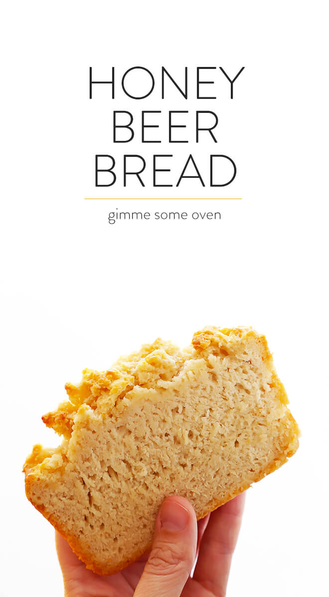 Learn how to make the most delicious beer bread with this easy recipe! Just stir together 6 simple ingredients, and in under an hour, this Honey Beer Bread will be yours to enjoy. | gimmesomeoven.com