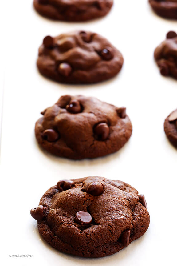 Double Chocolate Chip Cookies -- soft, chewy, and irresistibly good!   gimmesomeoven.com