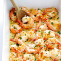 Garlicky Baked Shrimp Recipe -- one of my favorite easy dinners!  It's super quick, calls for just a few simple ingredients, and it's completely delicious. | gimmesomeoven.com