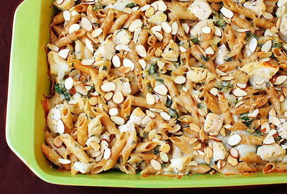 Chicken, Spinach and Almond Pasta Bake {Gimme Some Oven}