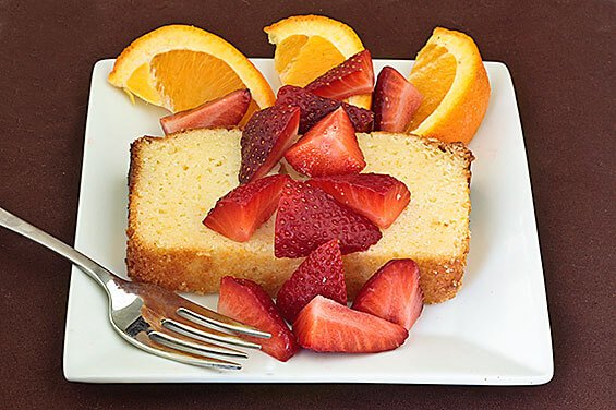 Orange Ricotta Pound Cake with Strawberries