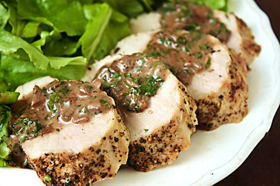 Pork Tenderloin With  Burgundy Peppercorn Sauce {Gimme Some Oven}