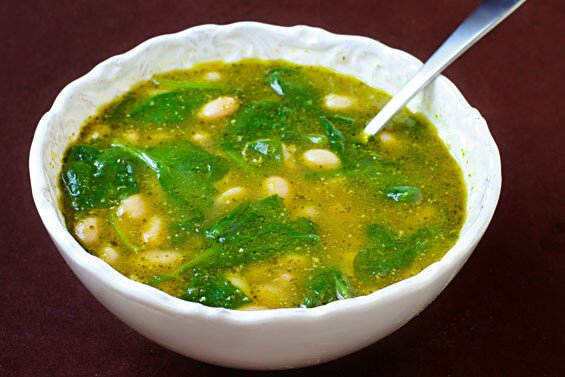 White Bean, Spinach & Pesto Soup {Gimme Some Oven}