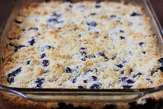 blueberry crumb bars in pan