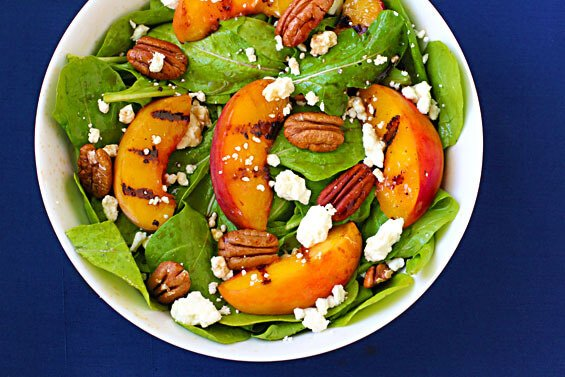 Grilled Peaches, Arugula & Feta Salad {Gimme Some Oven}