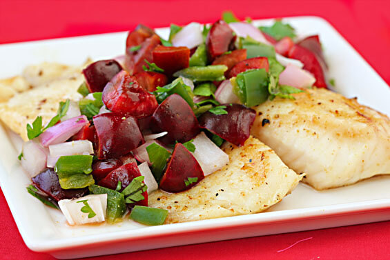 Grilled Tilapia With Cherry Salsa {Gimme Some Oven}