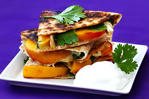 Peach, Chicken & Pepper Jack Quesadillas
