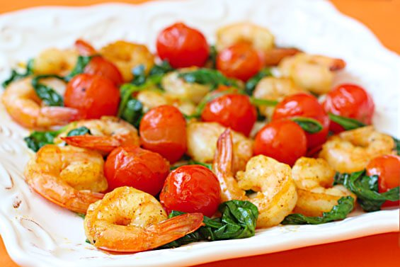 Sauteed Shrimp With Spinach & Tomatoes {Gimme Some Oven}