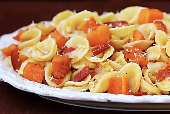 Roasted Butternut & Bacon Pasta {Gimme Some Oven}
