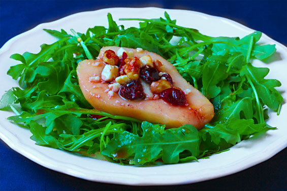 Roasted Pear, Blue Cheese & Arugula Salad