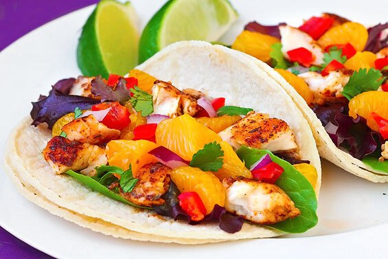 Fish tacos with mandarin orange salsa gimme some oven for Healthy fish taco recipe