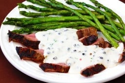 Flank Steak With Peppercorn Cream Sauce