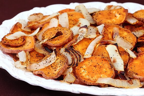 Roasted Sweet Potatoes Onions