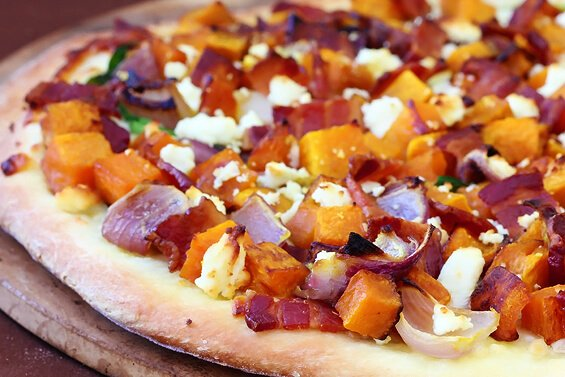 butternut, bacon, spinach & feta pizza