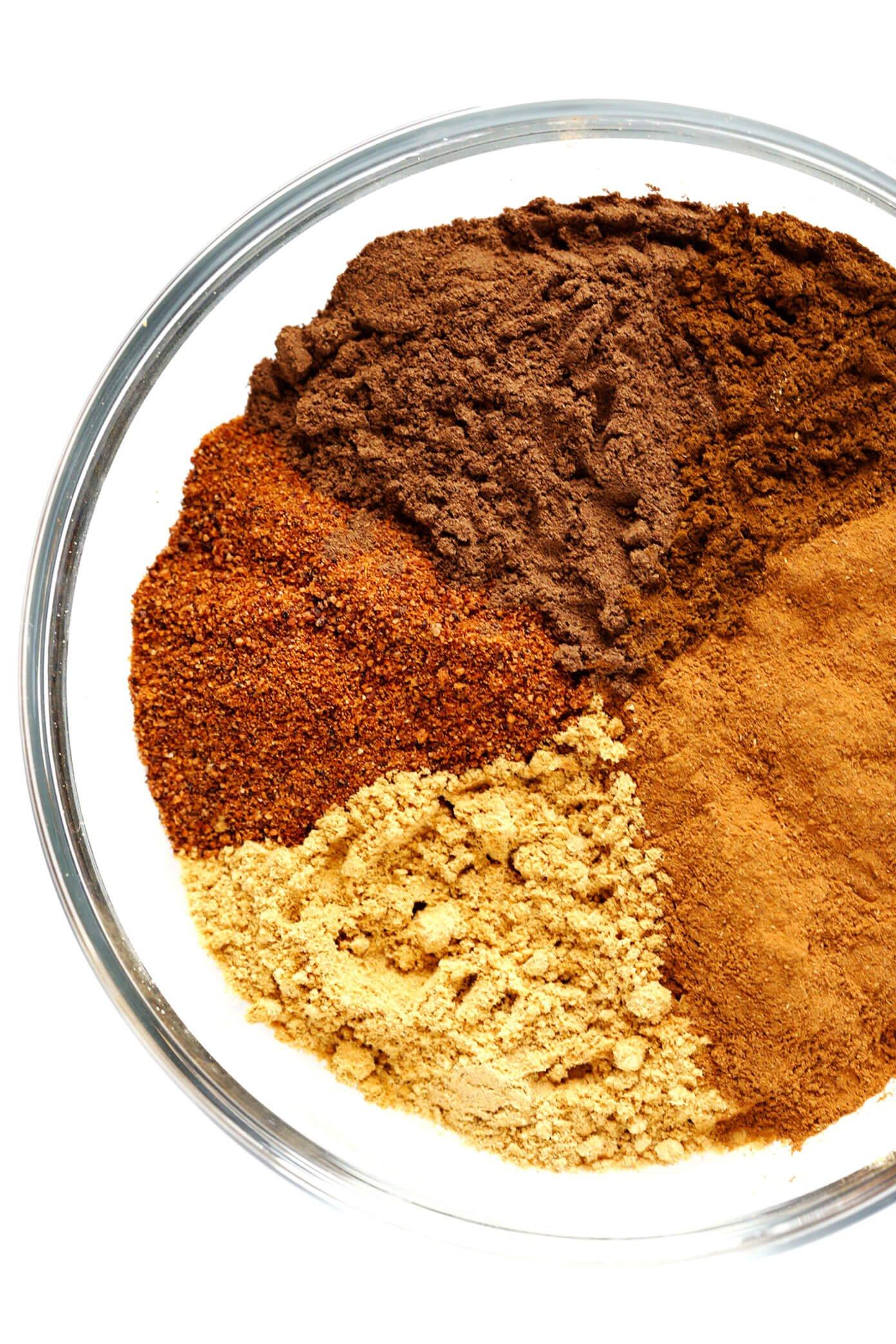 Pumpkin Pie Spice Recipe Ingredients -- Cinnamon, Ginger, Nutmeg, Allspice and Cloves