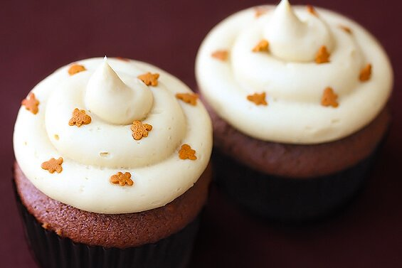 Gingerbread Cupcakes with Molasses Cream Cheese Frosting