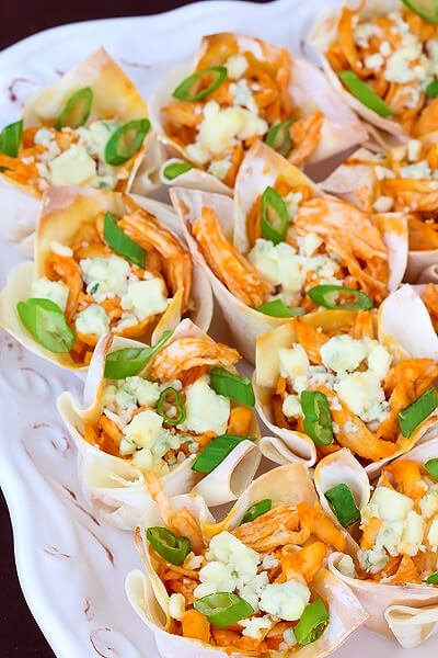 Close up of buffalo chicken cups