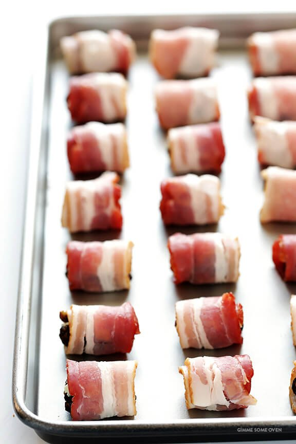 3-Ingredient Bacon-Wrapped Dates -- easy to make, stuffed with blue cheese, and always a crowd favorite! | gimmesomeoven.com