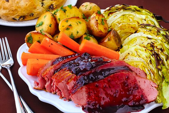 Corned Beef with Blackberry Mustard Glaze