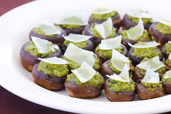 Easy Pesto Stuffed Mushrooms
