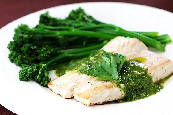 Mahi Mahi with Chimichurri Sauce & Broccolini