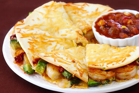 Parmesan-Crusted Shrimp Quesadillas | gimmesomeoven.com