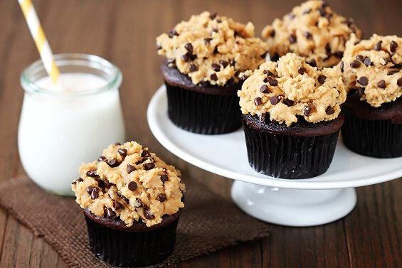 "Chocolate Cupcakes w/ Peanut Butter Cookie Dough ""Frosting"" 