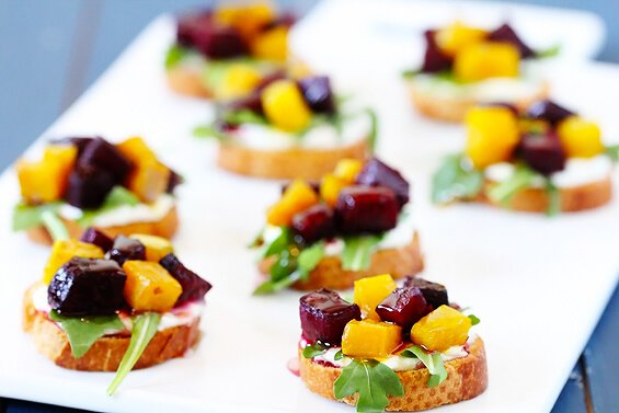 Roasted Beet, Arugula, Goat Cheese & Honey Crostini