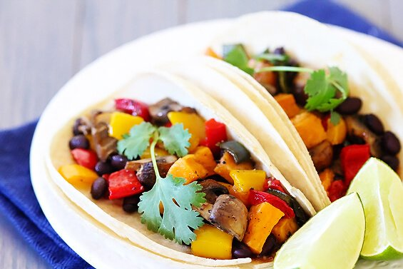 Roasted Vegetable & Black Bean Tacos {Gimme Some Oven}