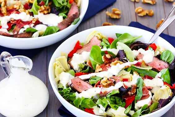 Steak & Artichoke Salad with Blue Cheese Dressing