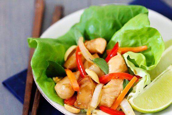 Thai Basil Chicken Lettuce Wraps {Gimme Some Oven}