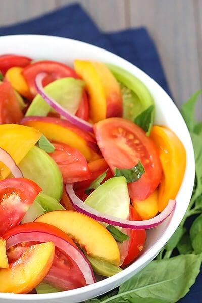 Heirloom Tomato, Peach & Basil Salad {big kitchen salad set giveaway}