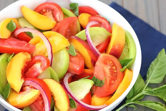 Heirloom Tomato, Peach & Basil Salad {big kitchen salad set giveaway}