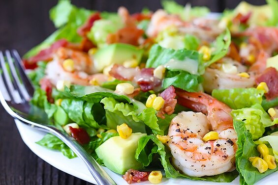 Shrimp, Avocado & Roasted Corn Salad | Gimme Some Oven