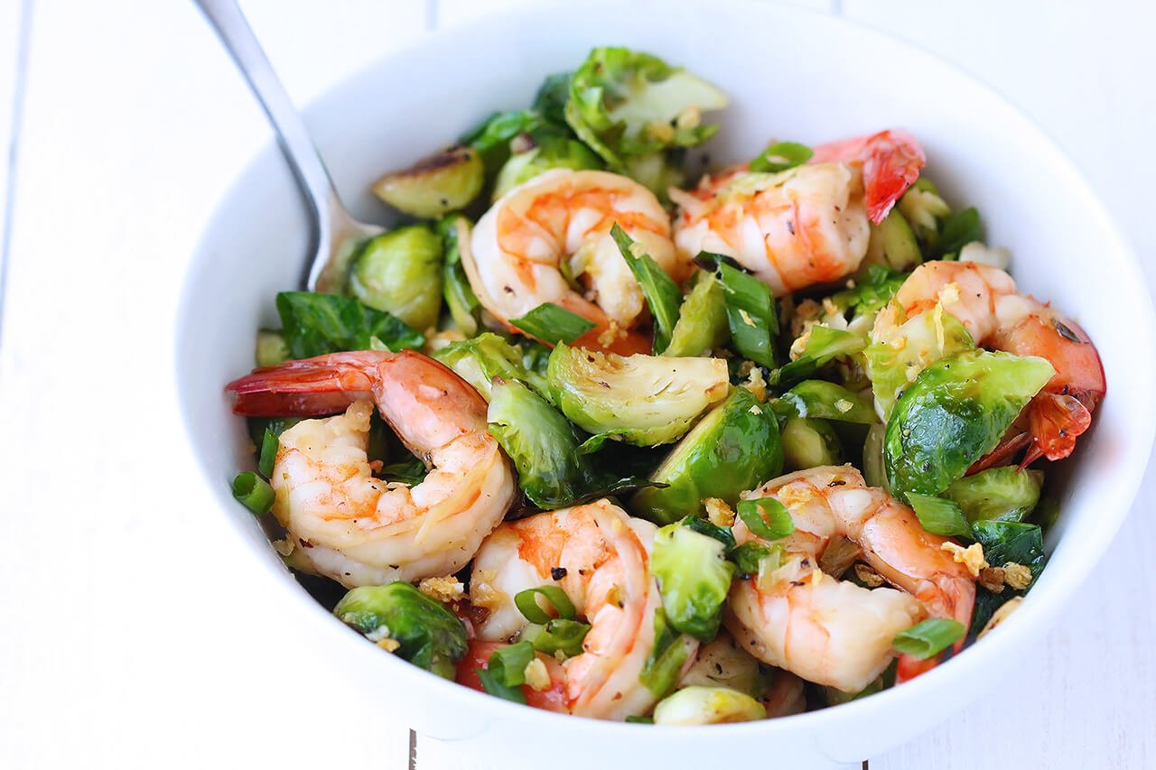 Honey Sesame Shrimp & Brussels Sprouts Stir Fry | Gimme Some Oven