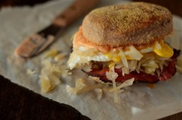 Reuben Breakfast Sandwich On Pumpernickel English Muffins