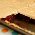 Chocolate Peanut Butter Sheet Cake from Iowa Girl Eats | gimmesomeoven.com