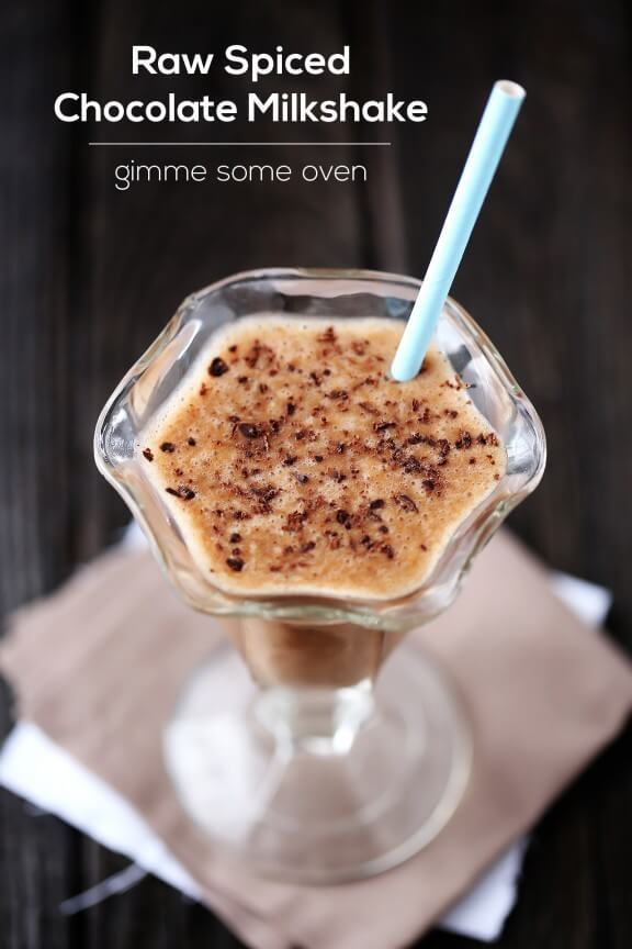 Raw Spiced Chocolate Milkshake | gimmesomeoven.com