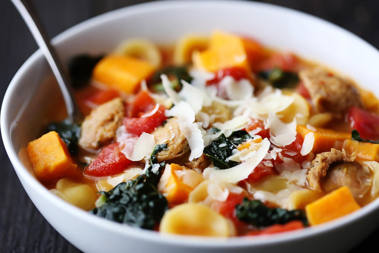 Sweet Potato, Sausage & Kale Soup | Gimme Some Oven