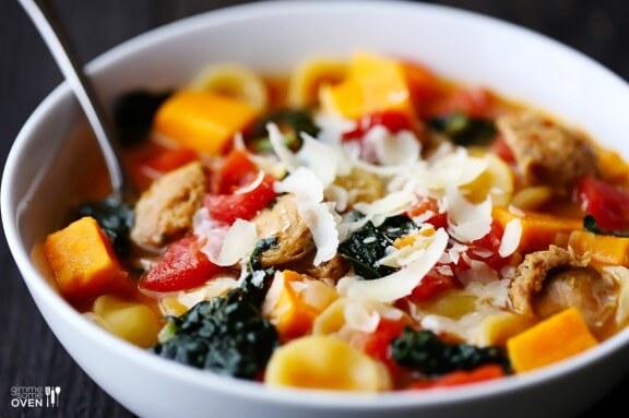 Sweet Potato, Sausage & Kale Soup | gimmesomeoven.com