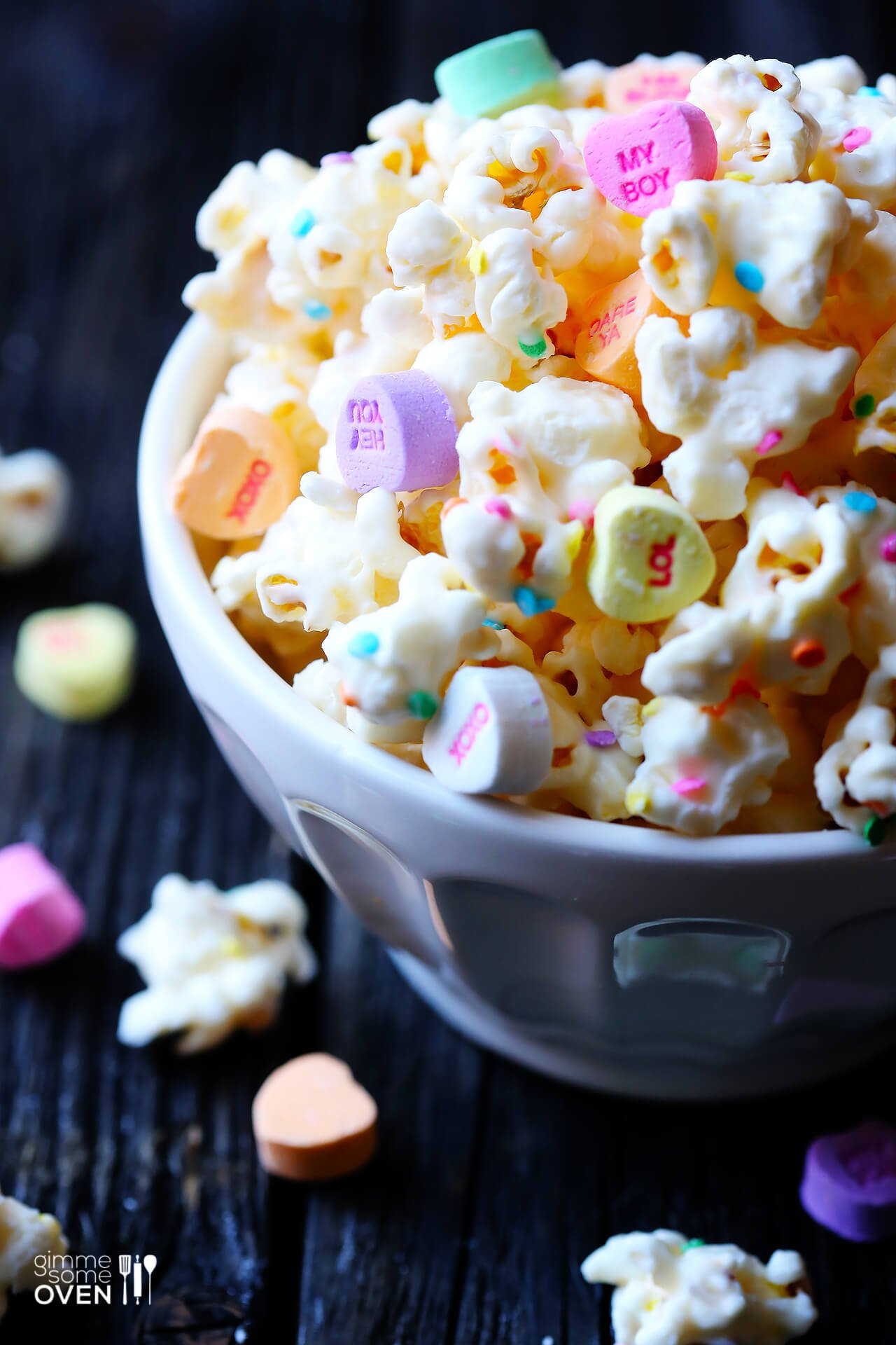 City Farmhouse - Valentine's Day Desserts White Chocolate Popcorn - Gimme Some Oven