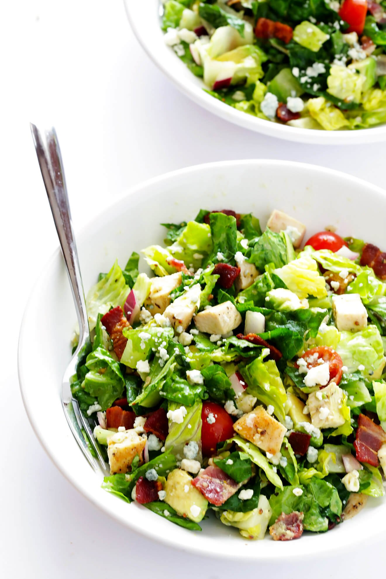This Chicken, Bacon and Avocado Chopped salad is one of my all-time favorite salads! Totally easy to make, and TOTALLY delicious. | gimmesomeoven.com