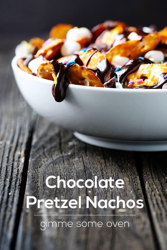 Chocolate Pretzel Nachos | gimmesomeoven.com