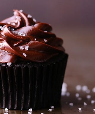 Salted Dark Chocolate Cupcakes | gimmesomeoven.com