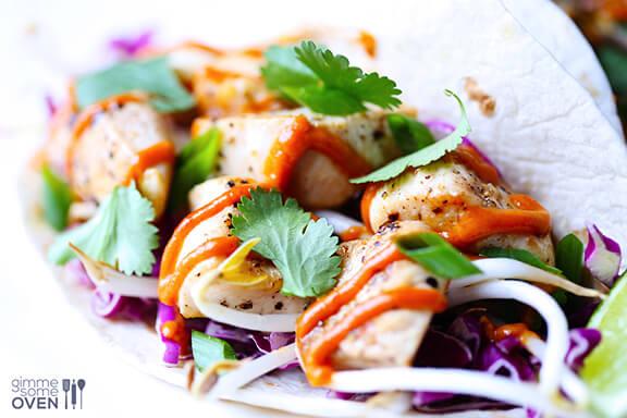 Thai Chicken Tacos | gimmesomeoven.com