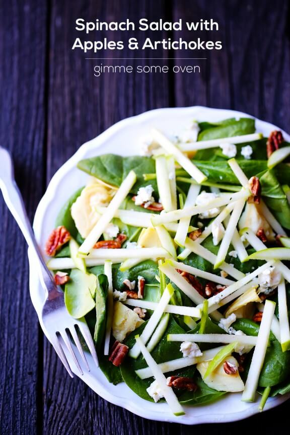 Spinach Salad with Apples and Artichokes | gimmesomeoven.com